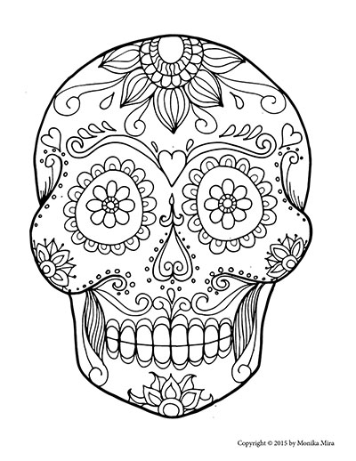 Free printable sugar skull coloring sheets lucid publishing for Mexican coloring pages for adults