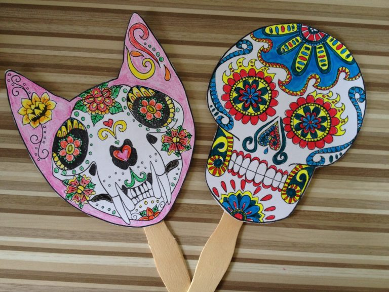 First Print Out Your Sugar Skull Template Then Color It In Cut And Tape To A Large Tongue Depressor Popsicle Stick Chopstick